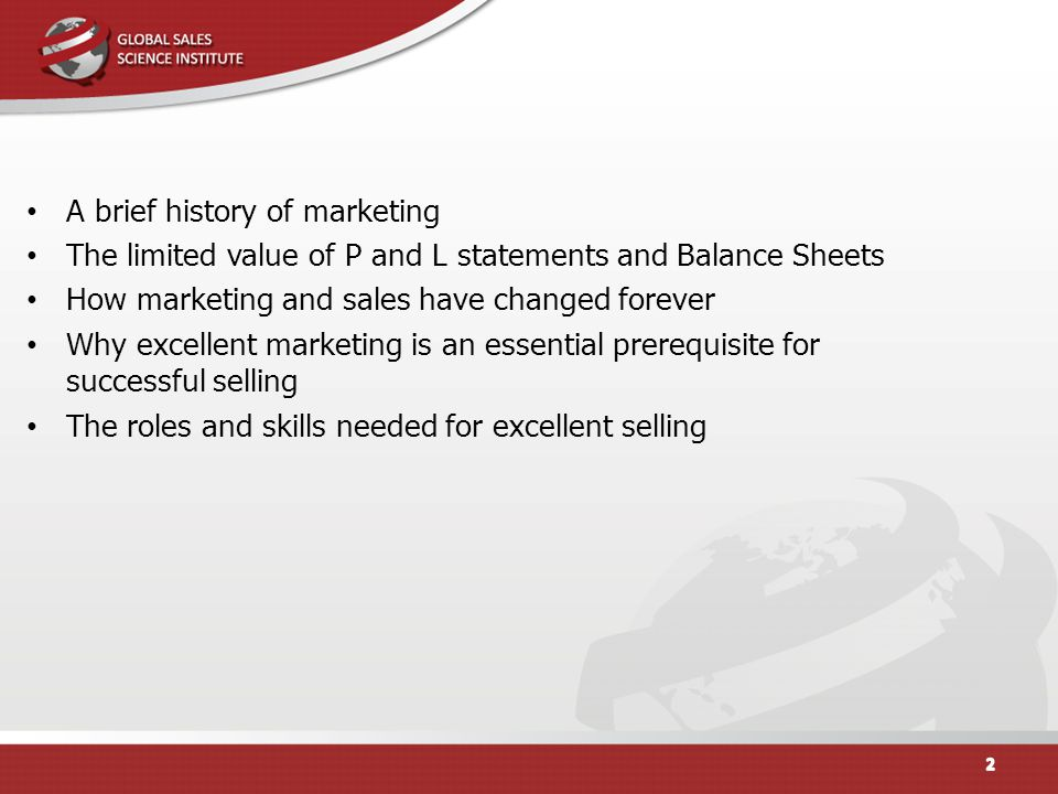 2 A Brief History Of Marketing. The Limited Value Of P And L Statements And  Balance Sheets ...