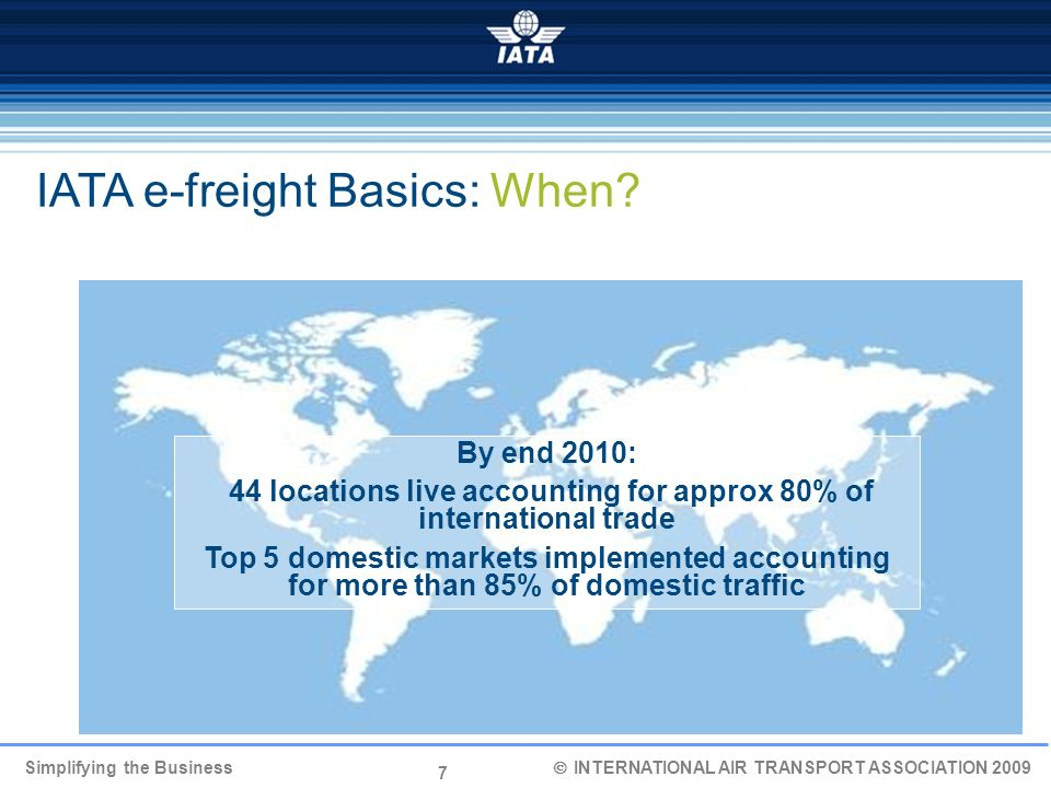 44 locations live accounting for approx 80% of international trade