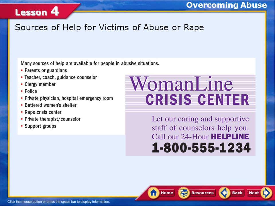 Sources of Help for Victims of Abuse or Rape