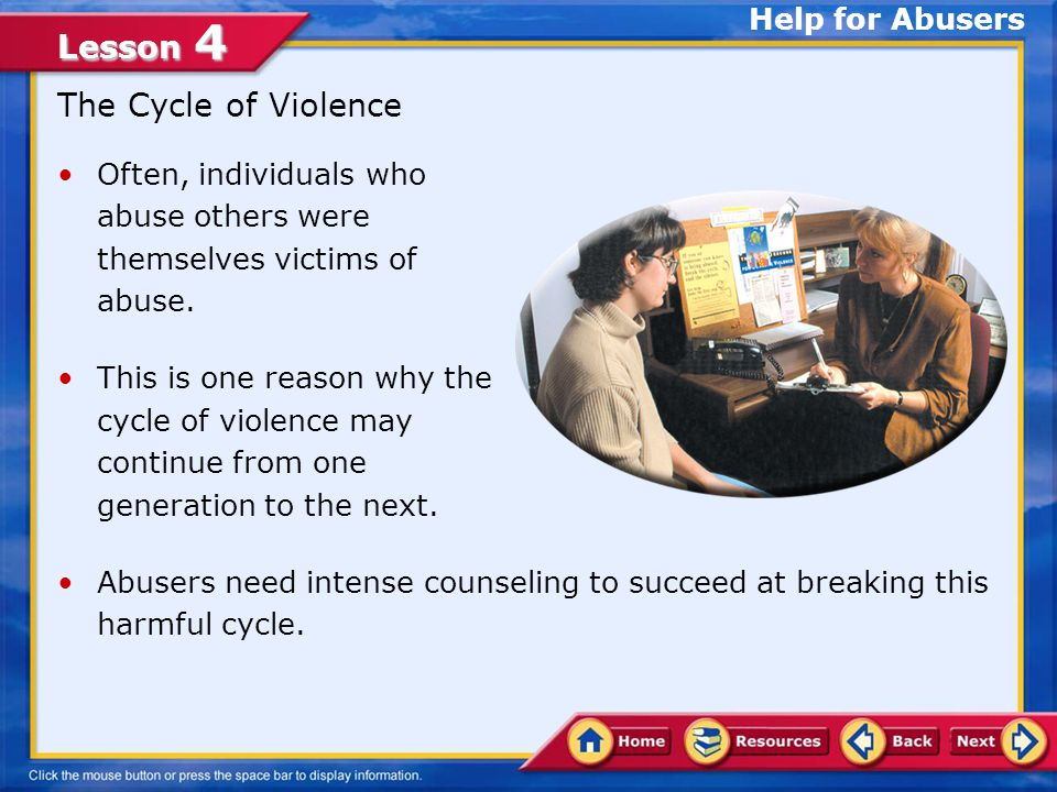 The Cycle of Violence Help for Abusers