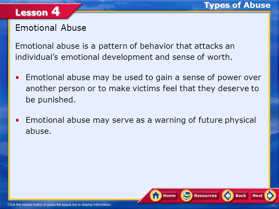 Emotional Abuse Types of Abuse