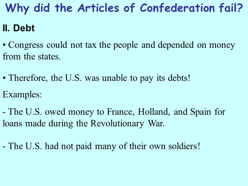 why the articles of confederation failed