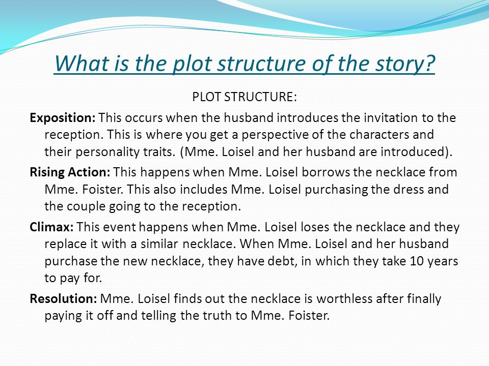 The necklace by guy de maupassant ppt download what is the plot structure of the story ccuart Images