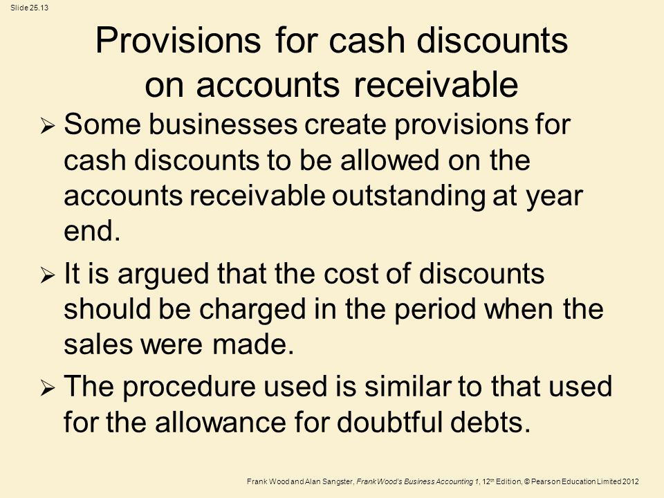 Provisions for cash discounts on accounts receivable