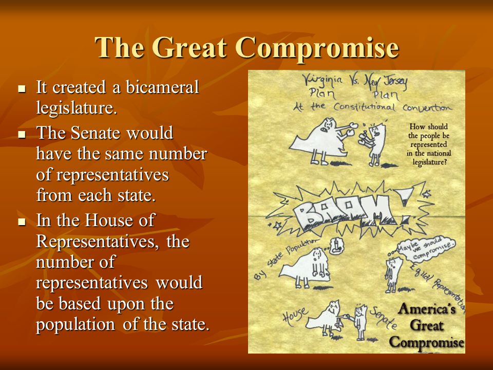 The Great Compromise It created a bicameral legislature.