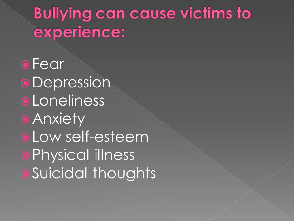 Bullying can cause victims to experience: