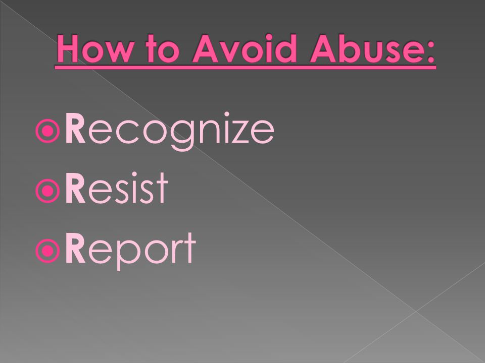 How to Avoid Abuse: Recognize Resist Report