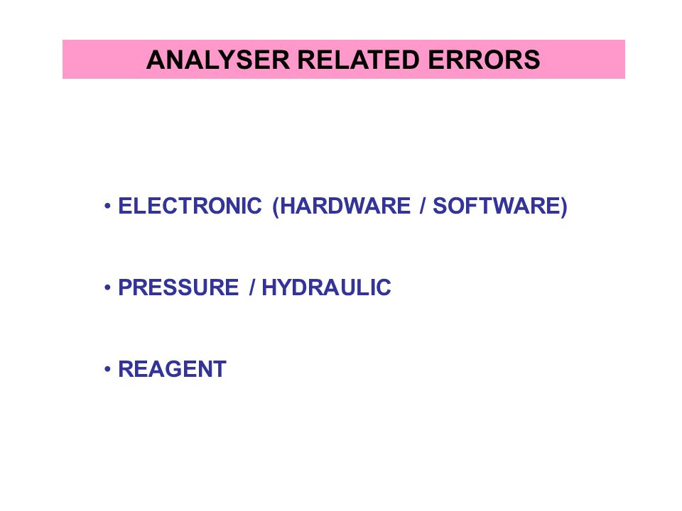 ANALYSER RELATED ERRORS