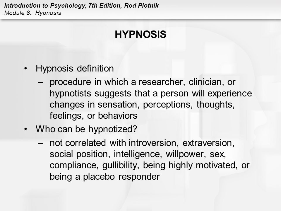Module 8 Hypnosis  - ppt video online download