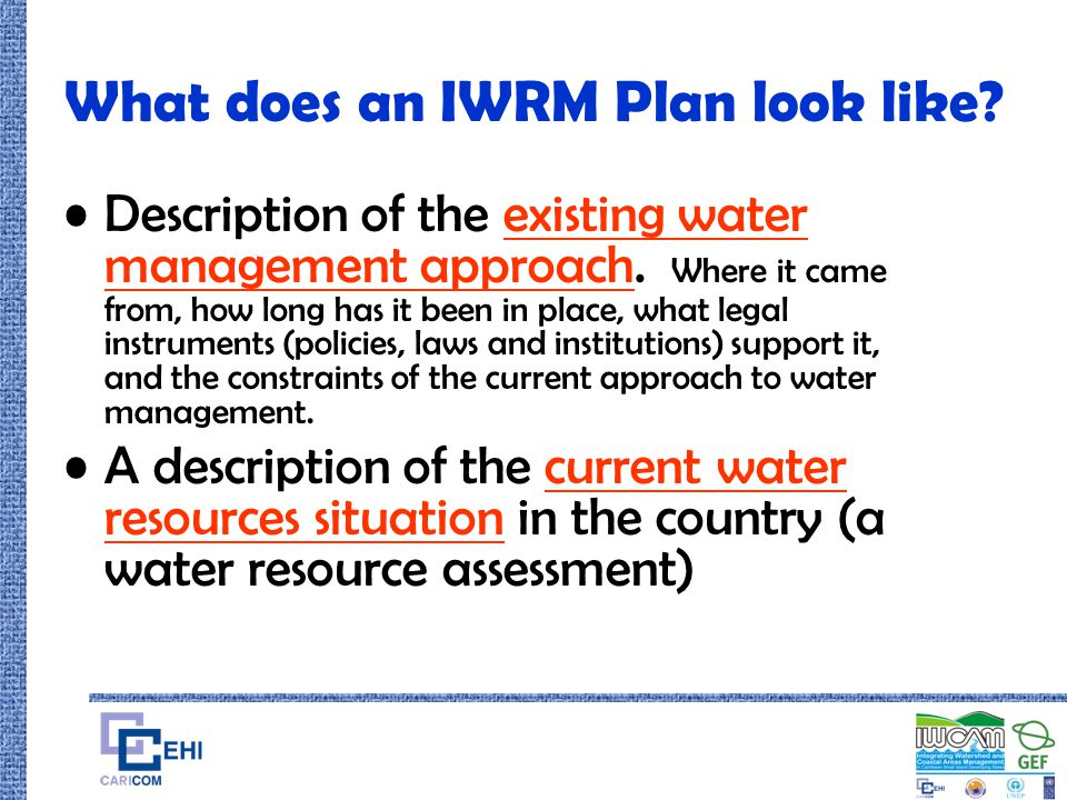 What does an IWRM Plan look like