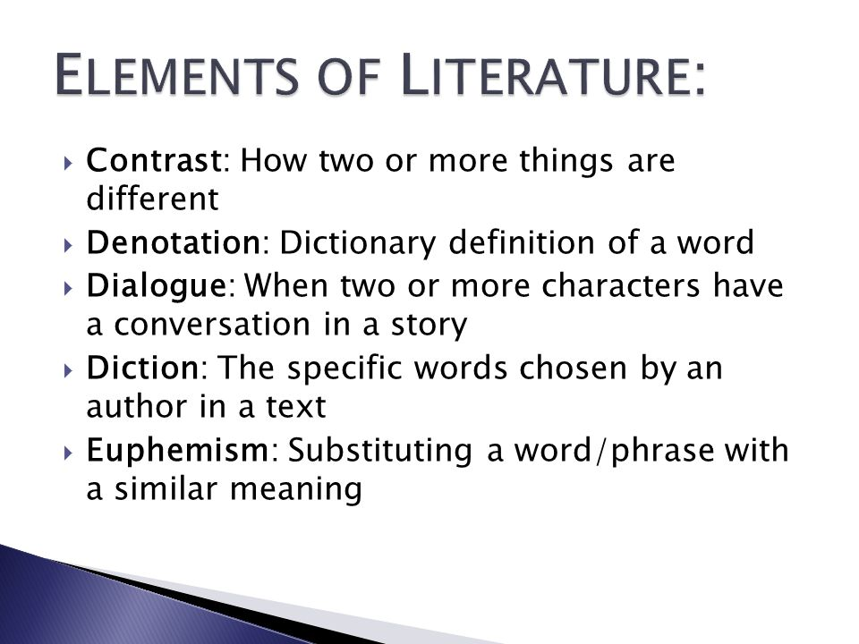 ELEMENTS OF LITERATURE: