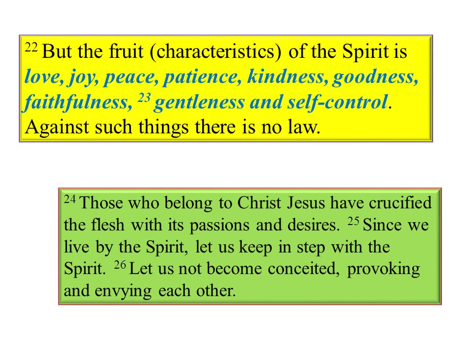 22 But the fruit (characteristics) of the Spirit is love, joy, peace, patience, kindness, goodness, faithfulness, 23 gentleness and self-control. Against such things there is no law.