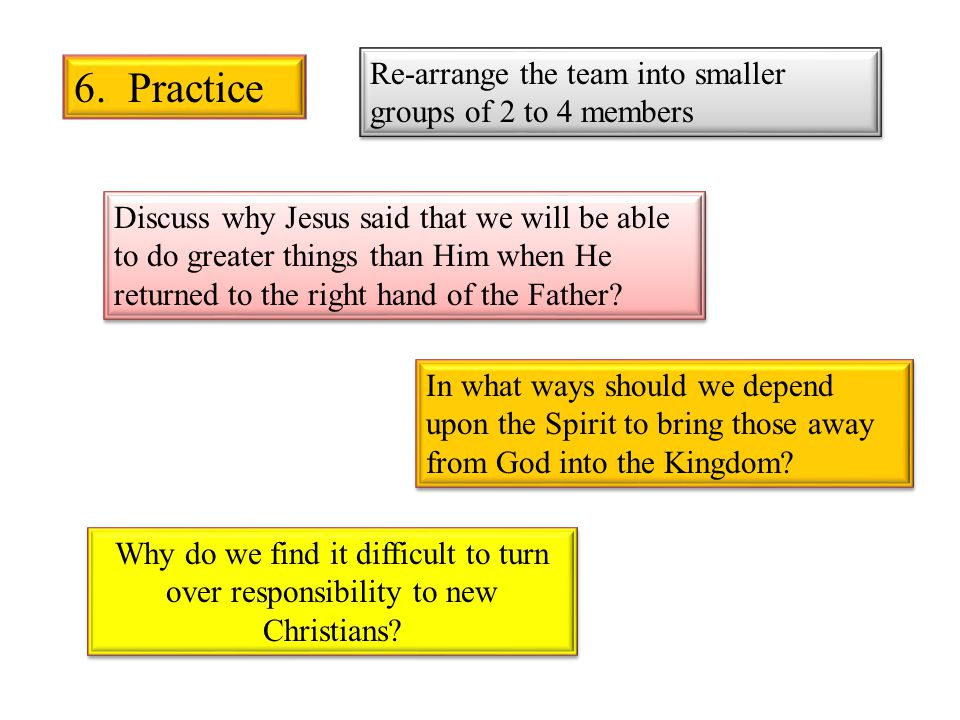 6. Practice Re-arrange the team into smaller groups of 2 to 4 members