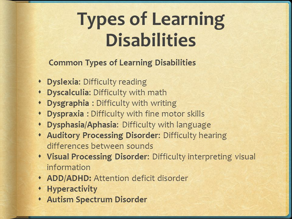 Types Of Learning Disabilities >> Gifted With Learning Disabilities Ppt Video Online Download
