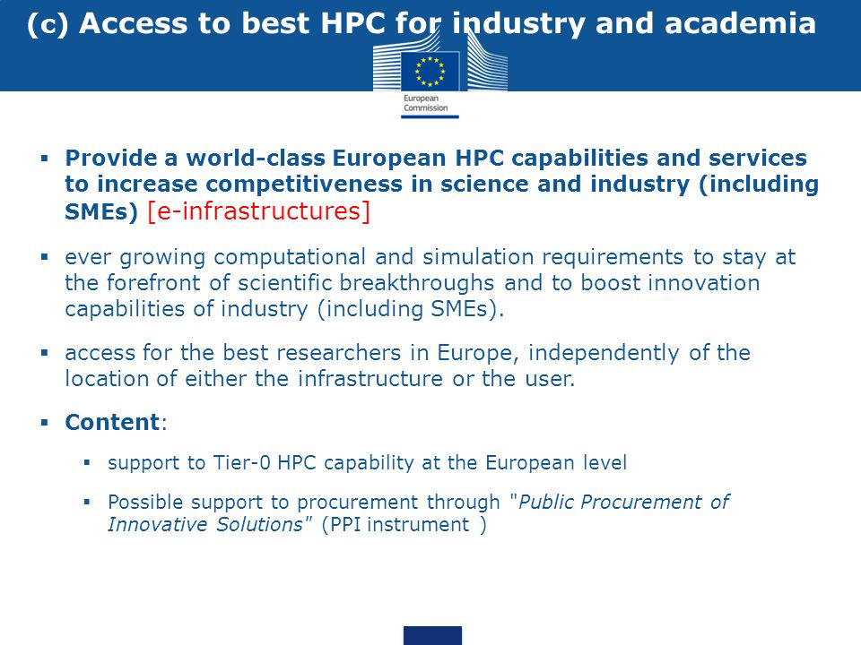 (c) Access to best HPC for industry and academia