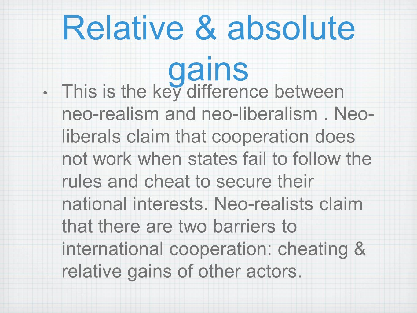 Relative & absolute gains
