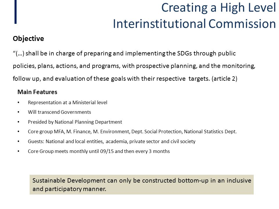 Creating a High Level Interinstitutional Commission