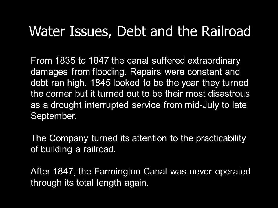 Water Issues, Debt and the Railroad