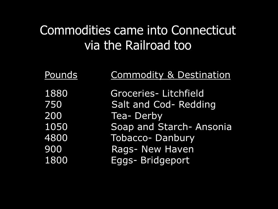 Commodities came into Connecticut via the Railroad too