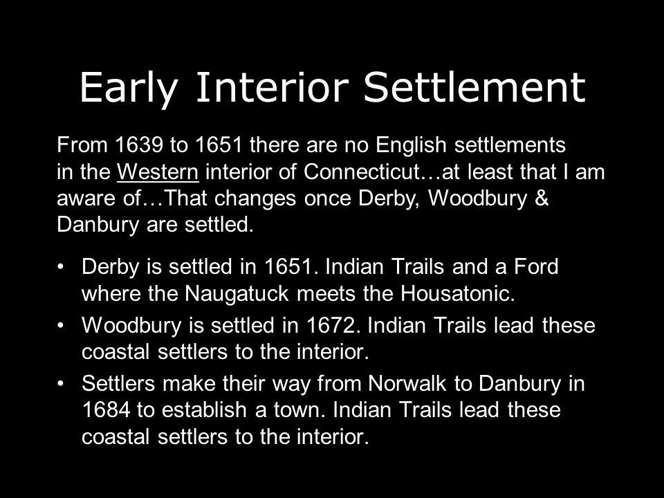 Early Interior Settlement