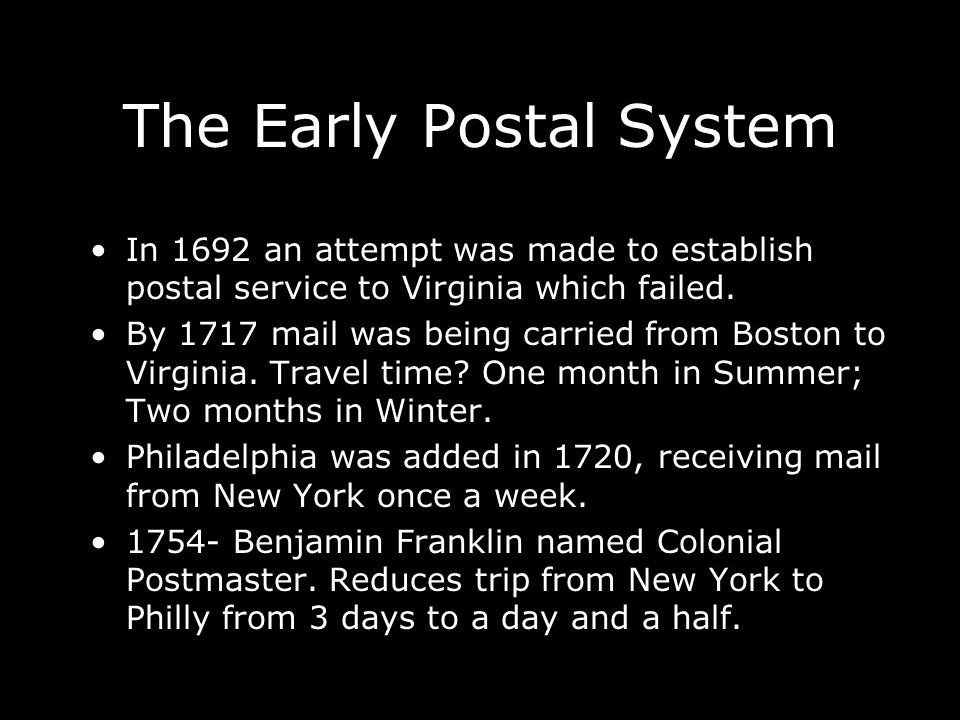 The Early Postal System