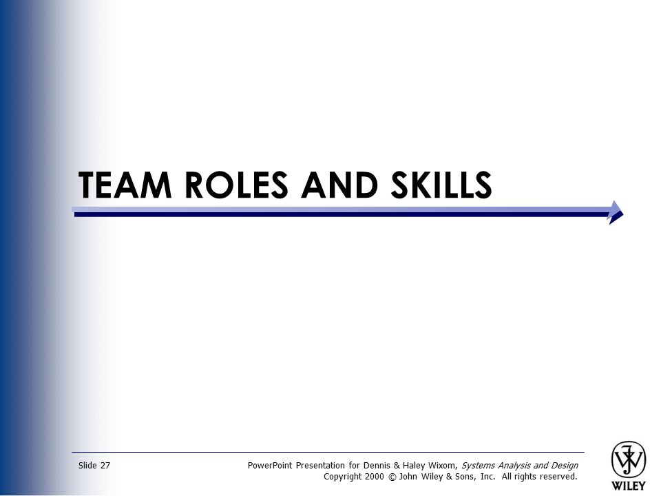 TEAM ROLES AND SKILLS PowerPoint Presentation for Dennis & Haley Wixom, Systems Analysis and Design.