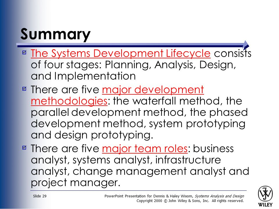 Summary The Systems Development Lifecycle consists of four stages: Planning, Analysis, Design, and Implementation.