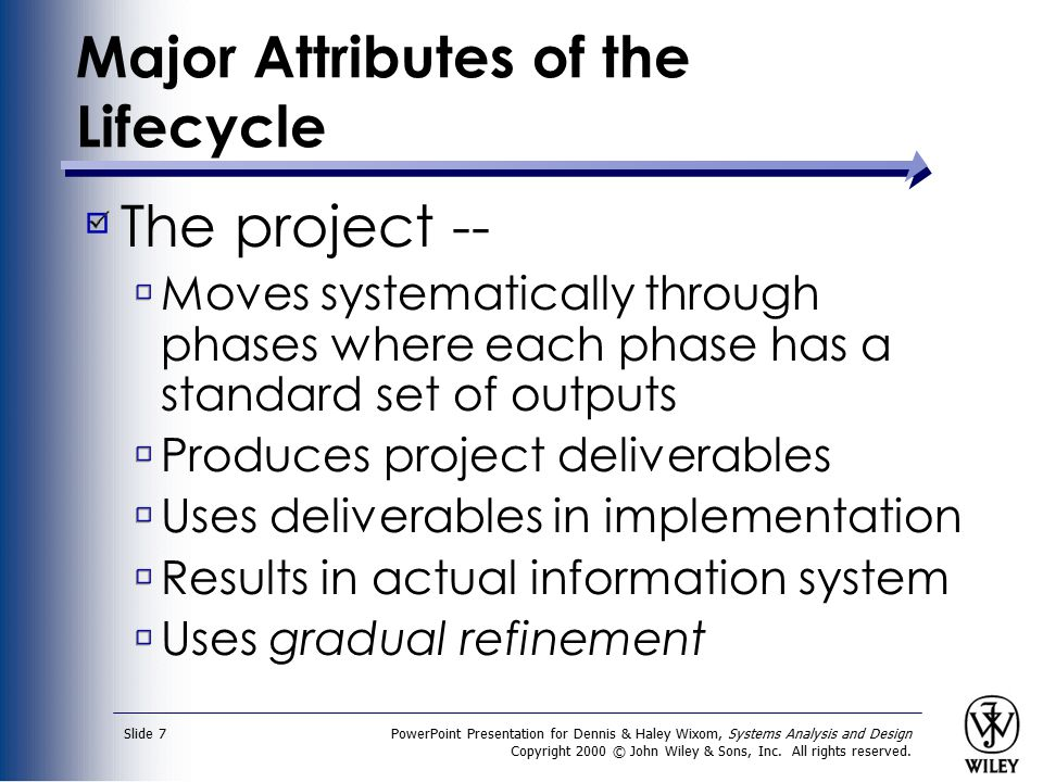 Major Attributes of the Lifecycle
