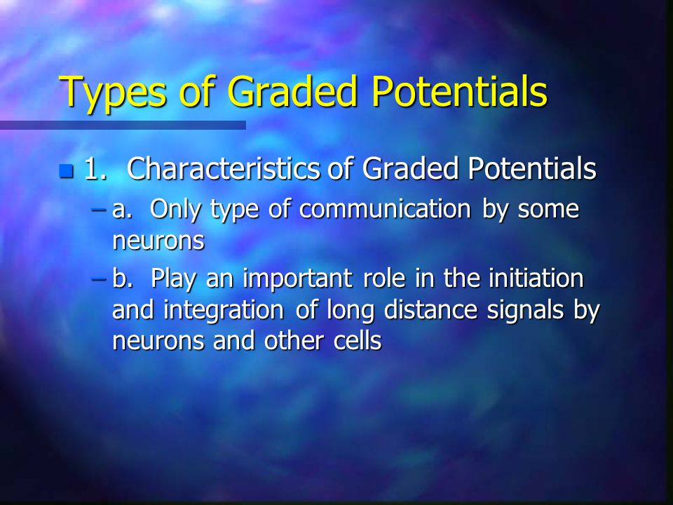 Types of Graded Potentials