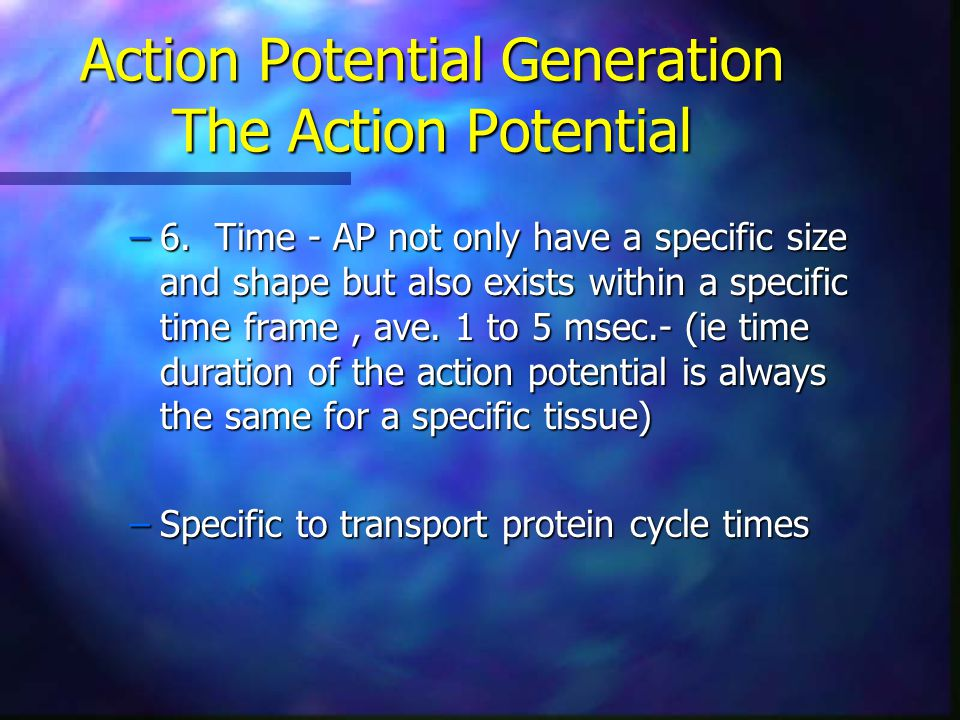 Action Potential Generation The Action Potential