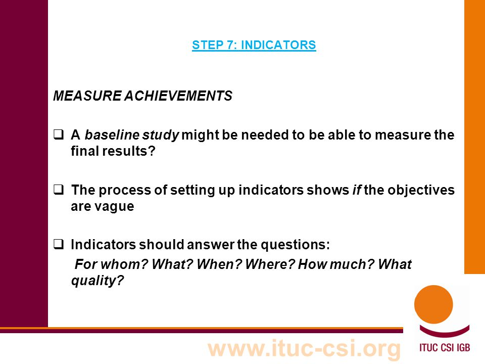The process of setting up indicators shows if the objectives are vague