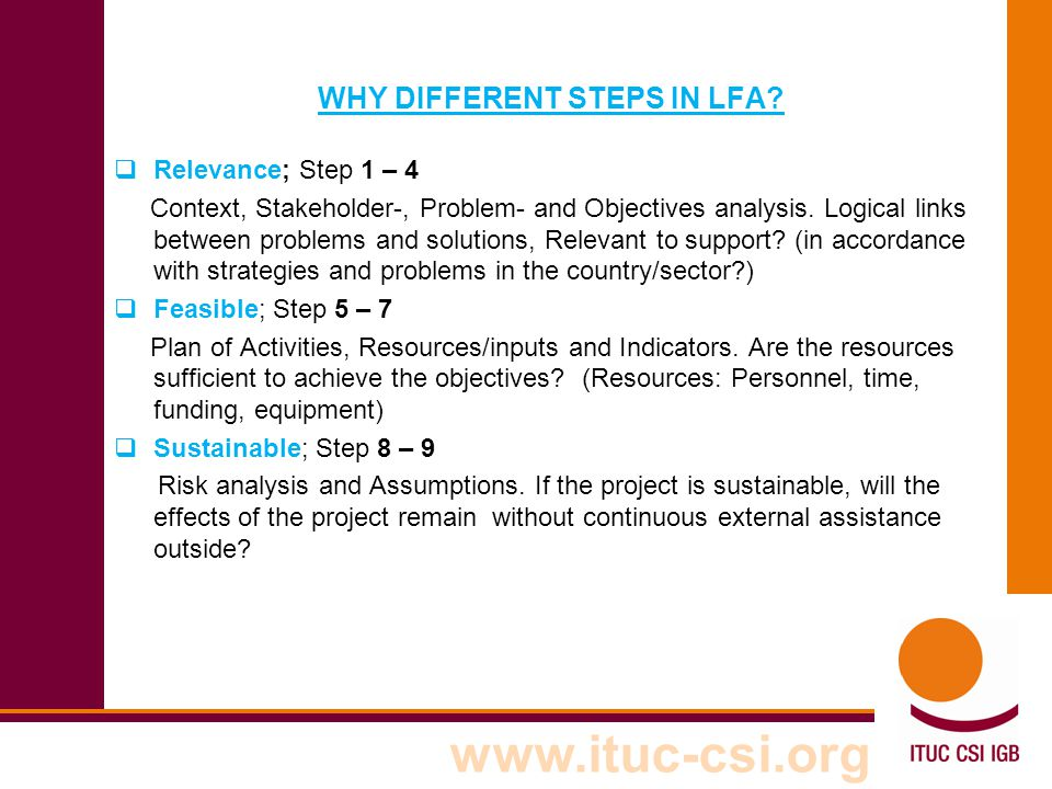 WHY DIFFERENT STEPS IN LFA