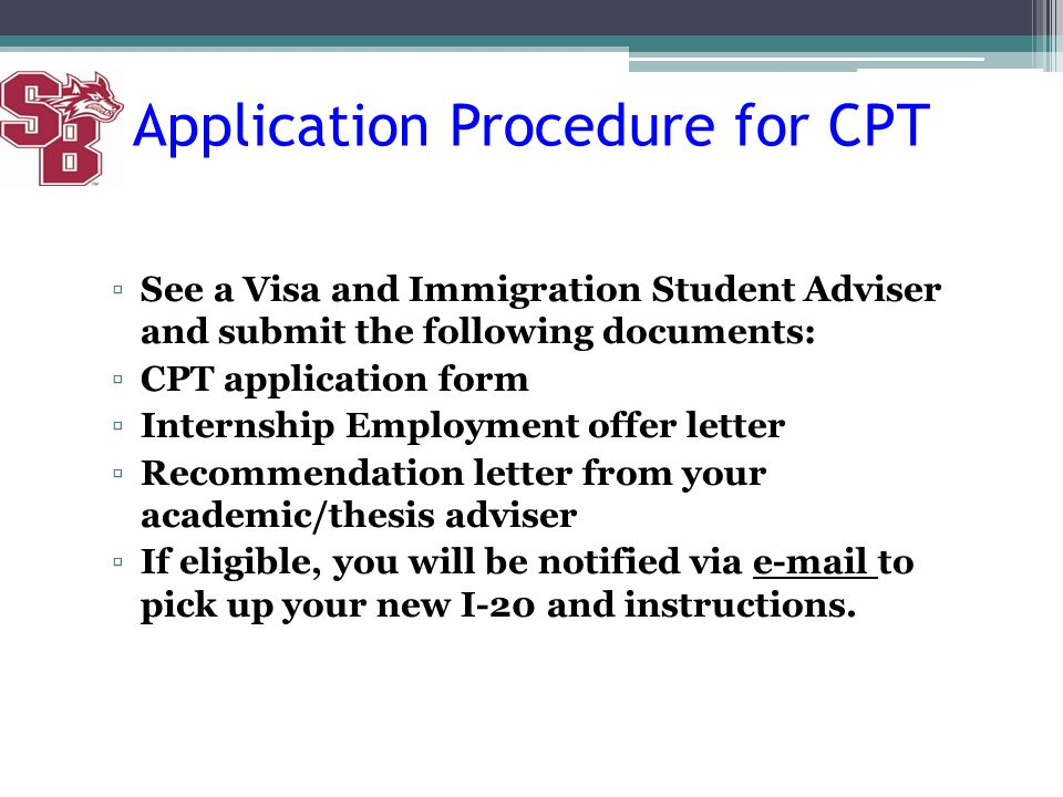 Application Procedure for CPT
