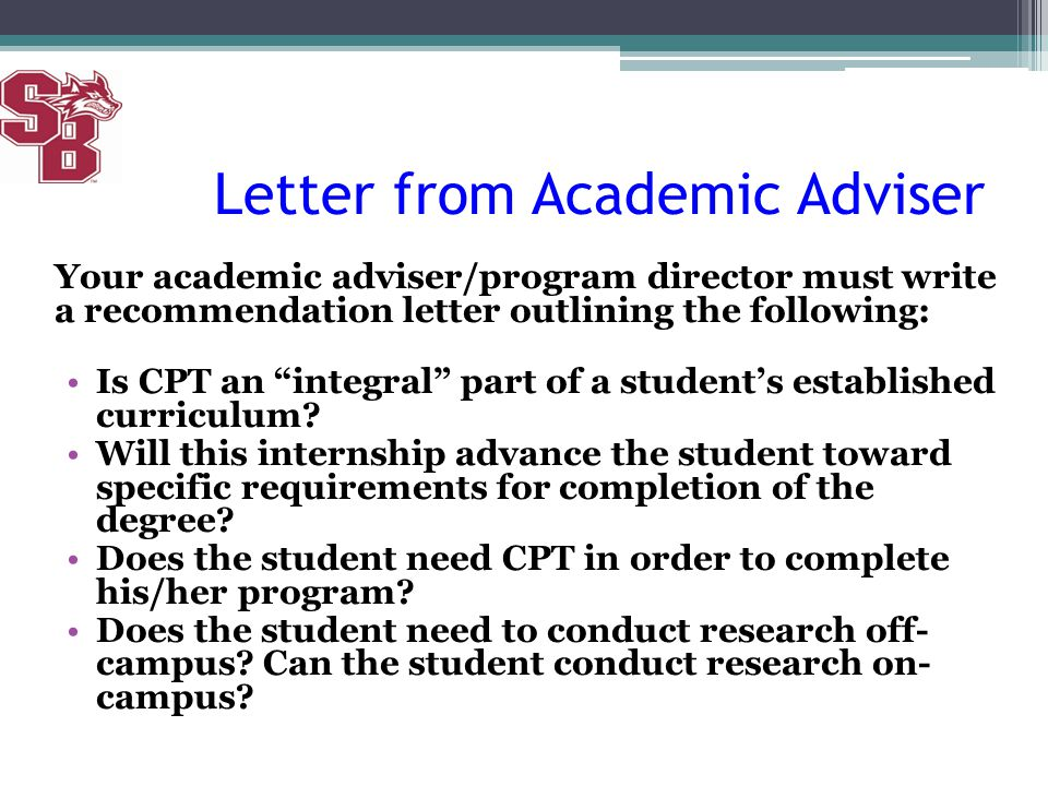 Letter from Academic Adviser