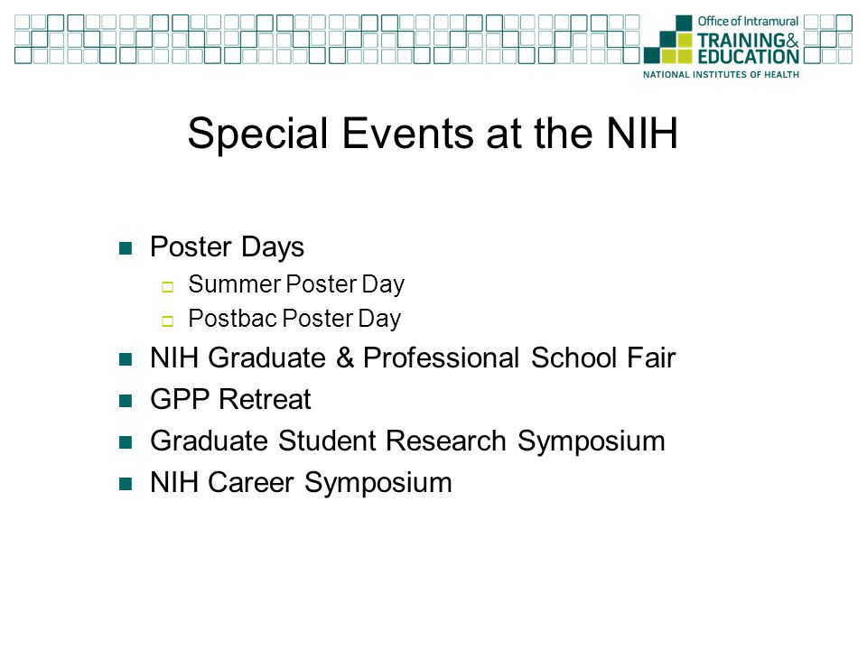 Special Events At The NIH