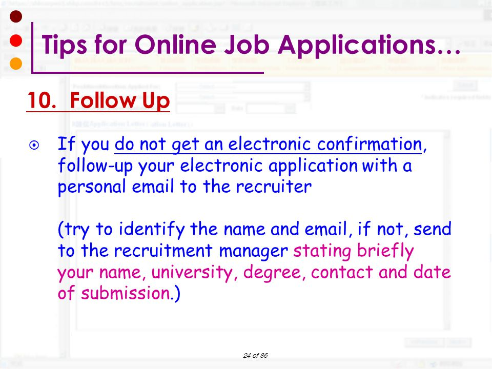 tips for online job applications