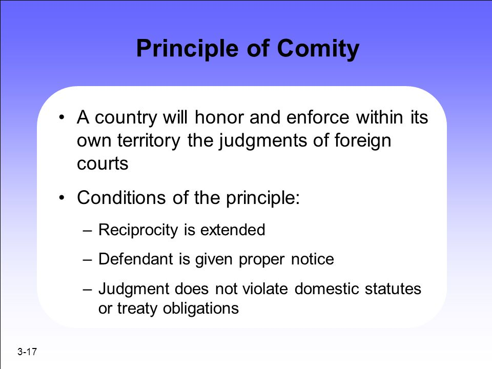 Principle of Comity A country will honor and enforce within its own territory the judgments of foreign courts.