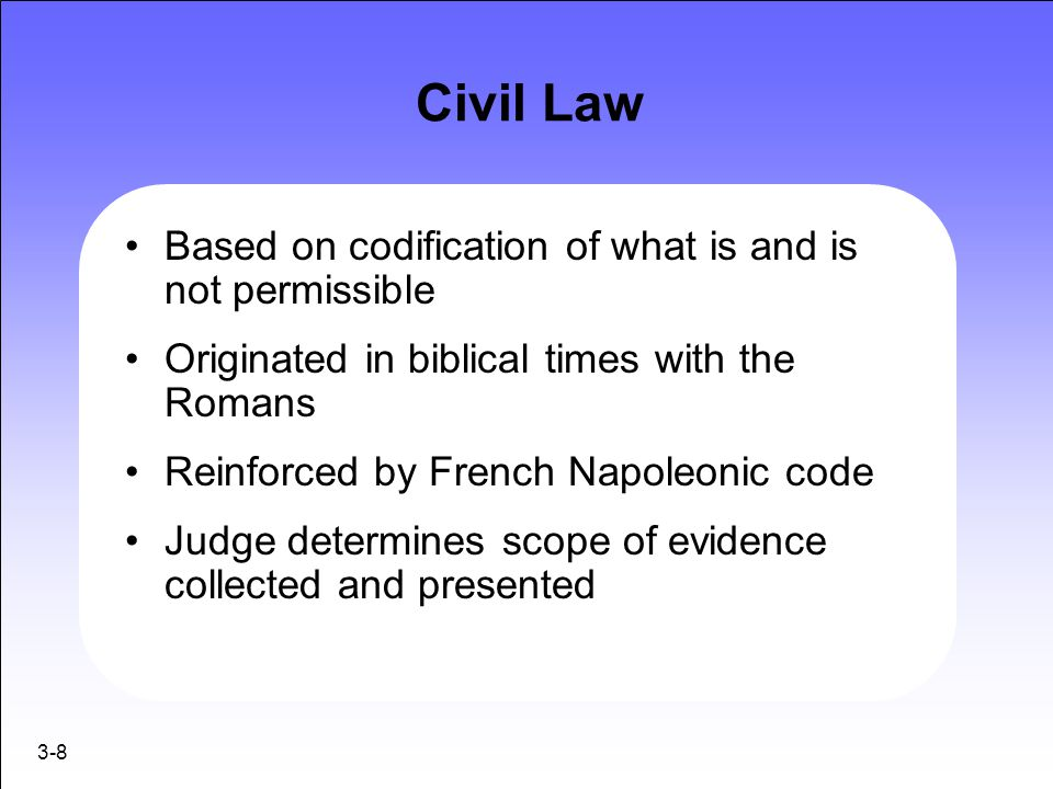 Civil Law Based on codification of what is and is not permissible