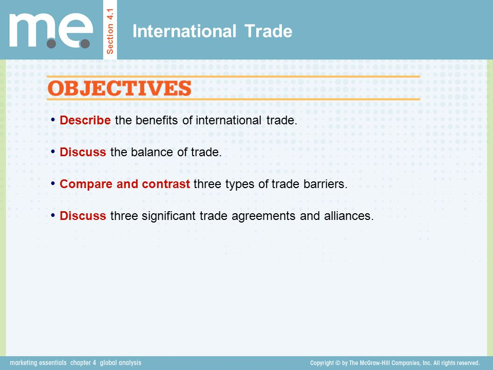 International Trade Describe the benefits of international trade.