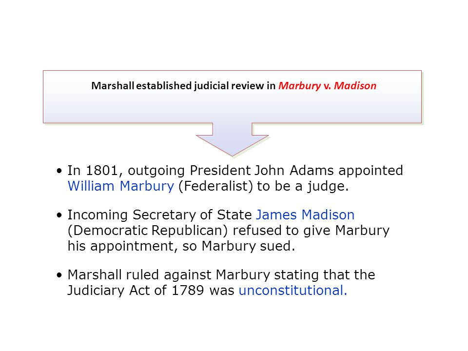 Marshall established judicial review in Marbury v. Madison