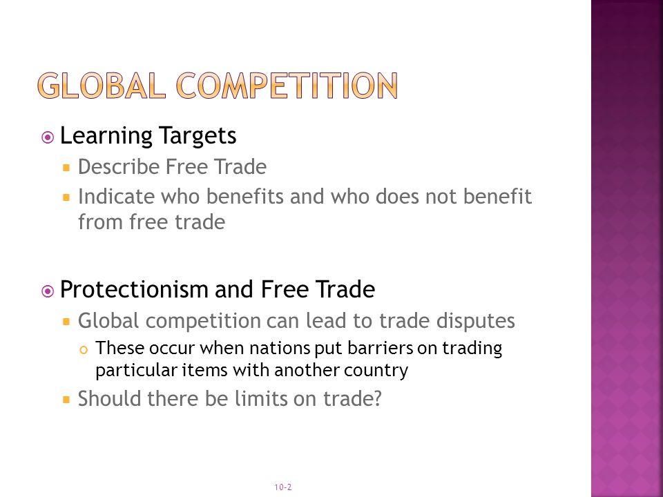 Global competition Learning Targets Protectionism and Free Trade