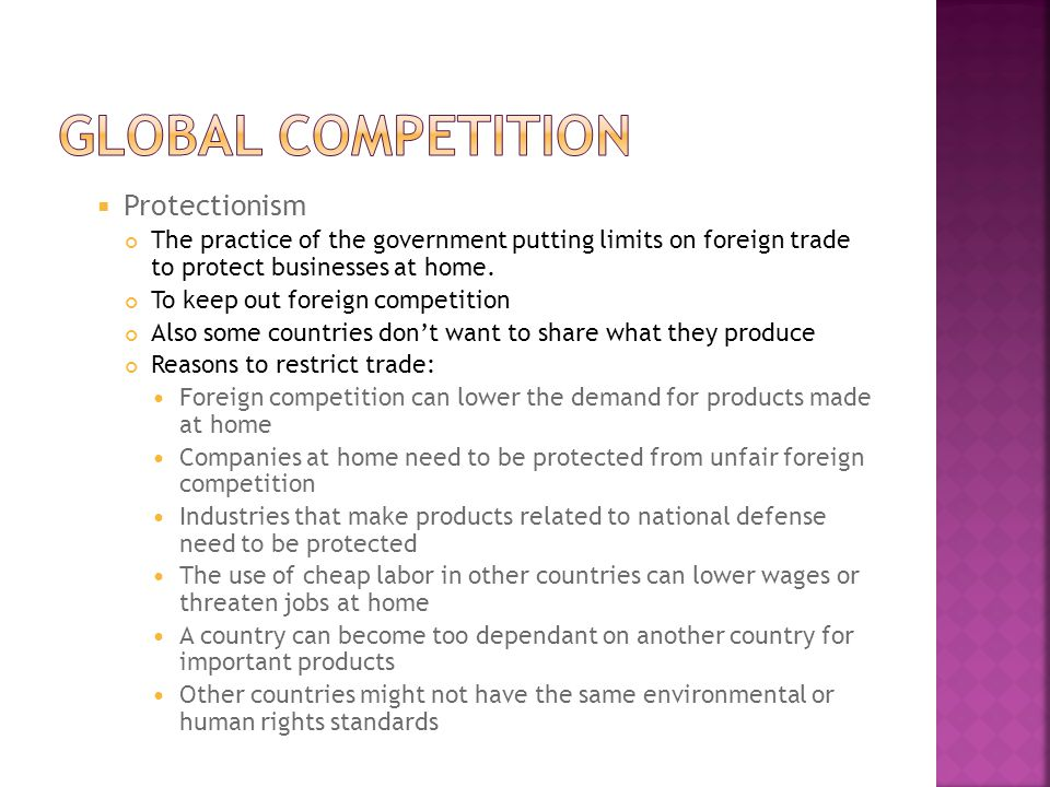 Global competition Protectionism