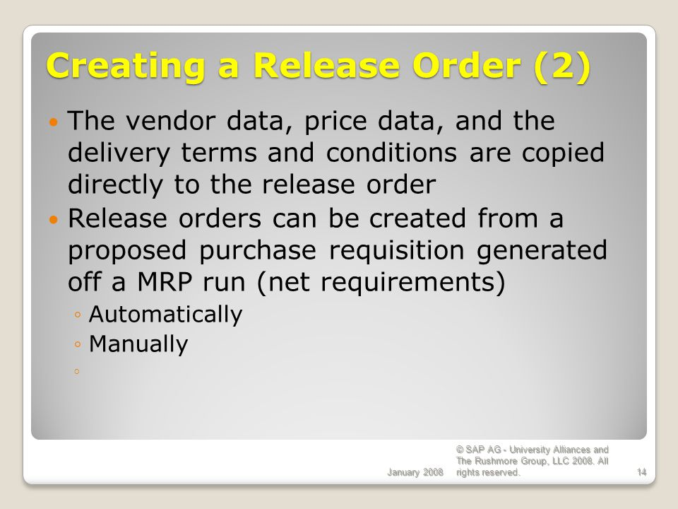 Creating a Release Order (2)