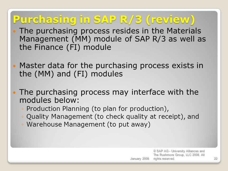 Purchasing in SAP R/3 (review)