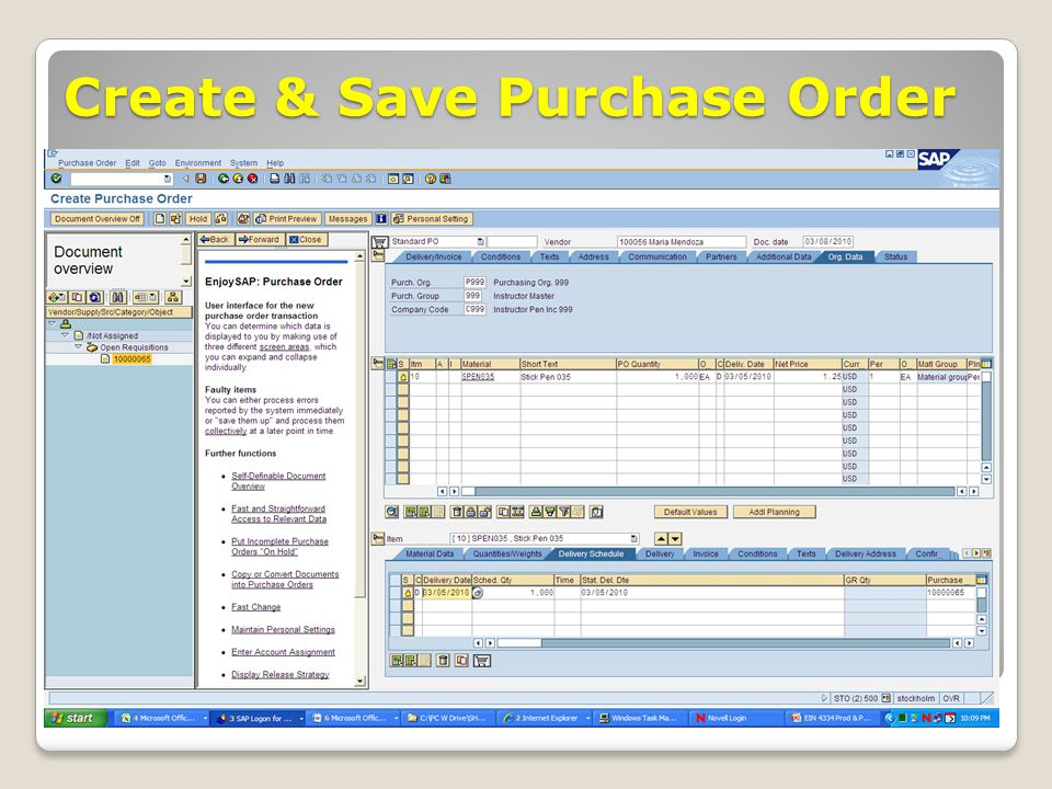 Create & Save Purchase Order