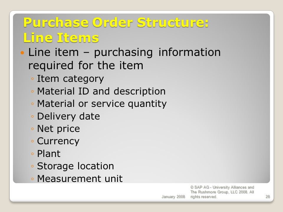 Purchase Order Structure: Line Items