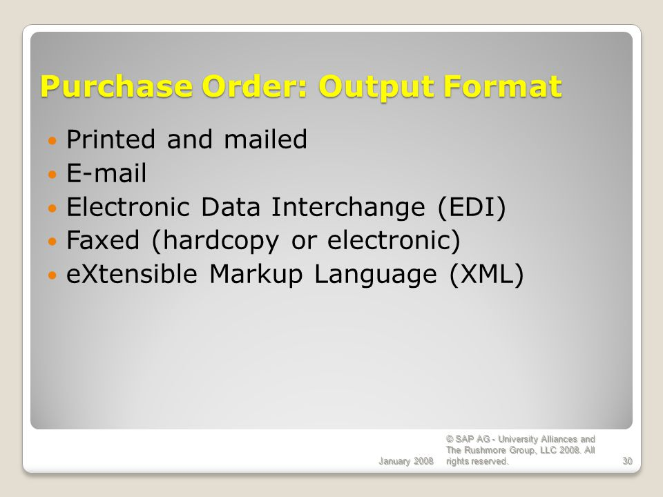Purchase Order: Output Format