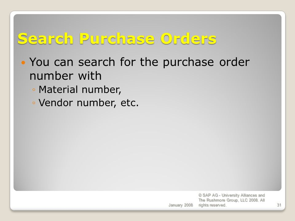 Search Purchase Orders
