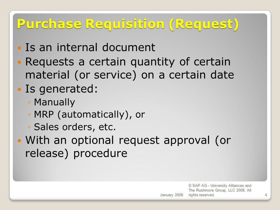 Purchase Requisition (Request)