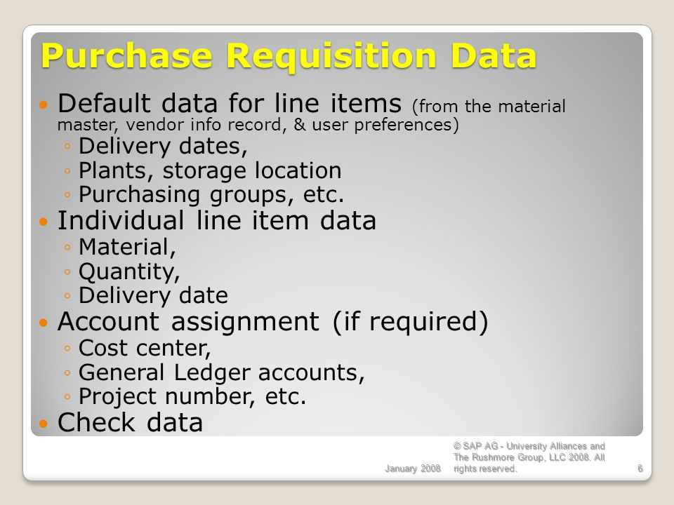 Purchase Requisition Data